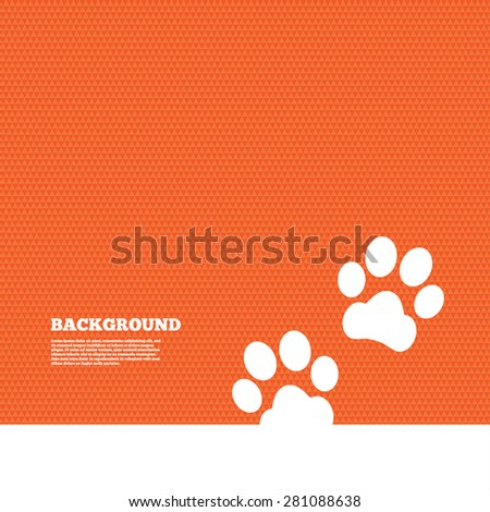Background with seamless pattern. Paw sign icon. Dog pets steps symbol. Triangles orange texture. Vector - stock vector