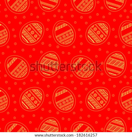 Background with seamless pattern with colored decorative Easter eggs