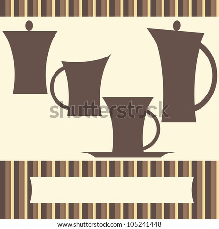 Background with set of coffee