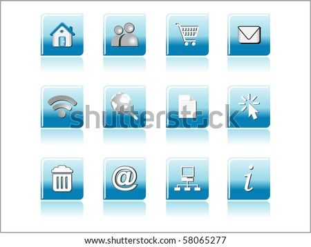 background with set of glossy icons, illustration