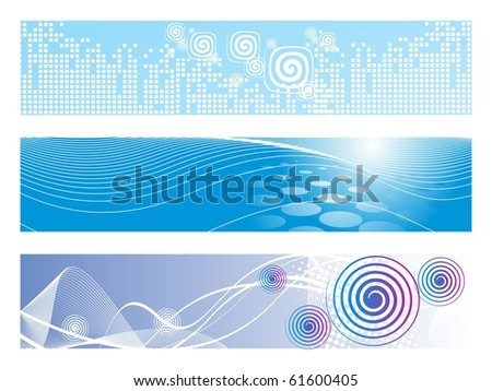 background with set of header, vector illustration