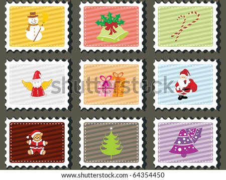 background with set of merry xmas stamp, vector illustration - stock vector