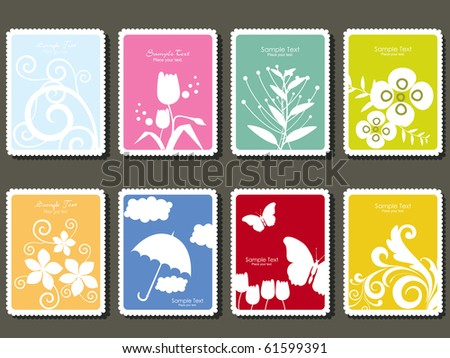background with set of postage stamp - stock vector