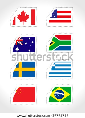 Background with set of st with world flag stock vector