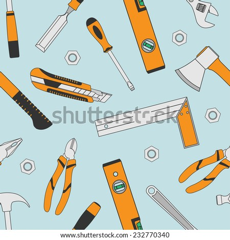 background with set of tools icons, seamless pattern - stock vector