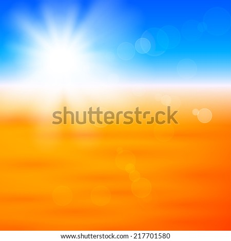 Background with shiny sun with flares over the autumn field - stock vector