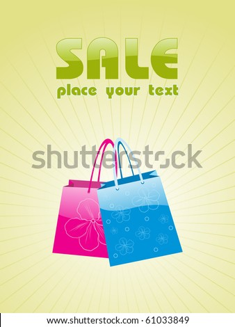 background with shopping bags, vector design