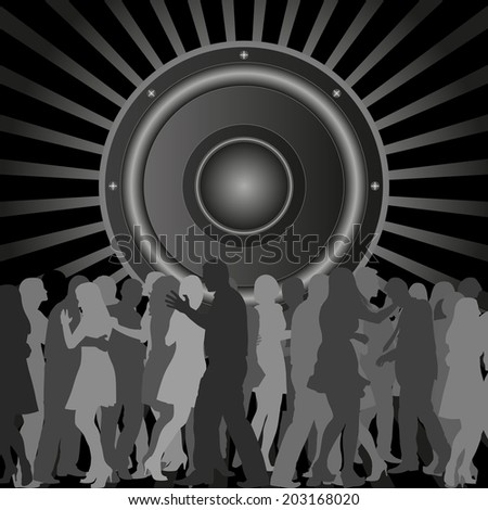 background with silhouettes of dancing people and speaker - stock vector