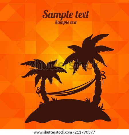 Background with silhouettes tropical coconut palm trees. Geometric pattern. Summer, hammock, island, beach holidays - vector