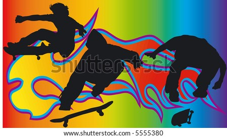 Background with Skateboarder - Vector