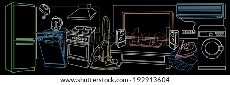background with sketches of household appliances - stock vector
