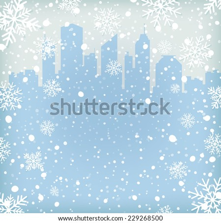 Background with snow flakes and city silhouette. Vector illustration - stock vector