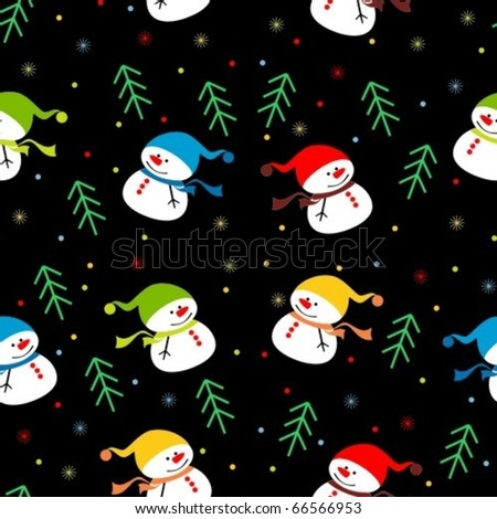 background with snowmen - stock vector