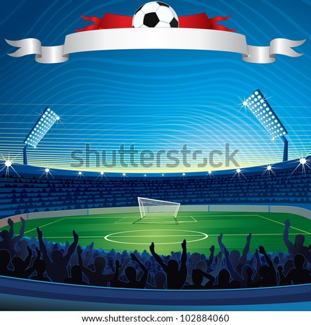 Background with Soccer Stadium. Vector Illustration - stock vector