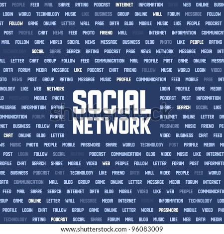 Background with social network keywords. Vector illustration. - stock vector