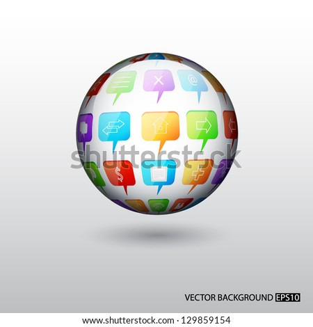 Background with sphere with social speech bubbles. EPS10 vector - stock vector