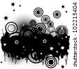 Background with splats, circles and stars - stock photo