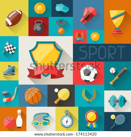 Background with sport icons in flat design style. - stock vector