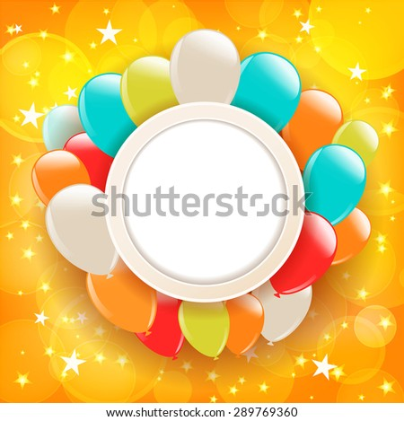 background with stars and balloons - stock vector