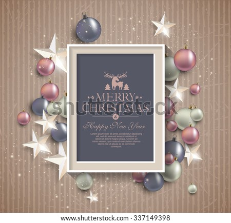 Background with stars and balls with frame - stock vector