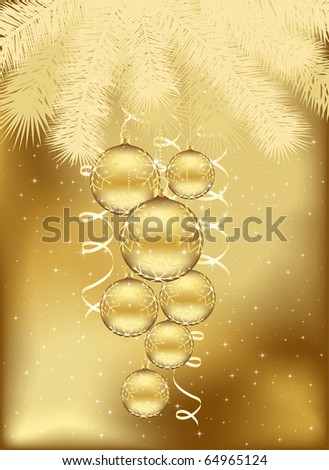 Background with stars and Christmas balls, illustration - stock vector