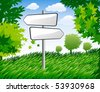 background with summer trees and signpost - stock vector