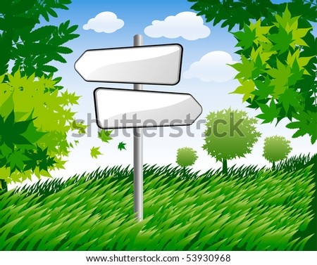 background with summer trees and signpost