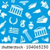 Background with symbols of Greece - stock vector