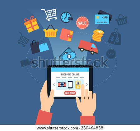 Background with symbols of online shopping - customer buying stuff online. - stock vector