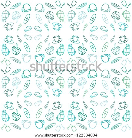 Background with tea set for menu design, scrapbooking or interior - stock vector