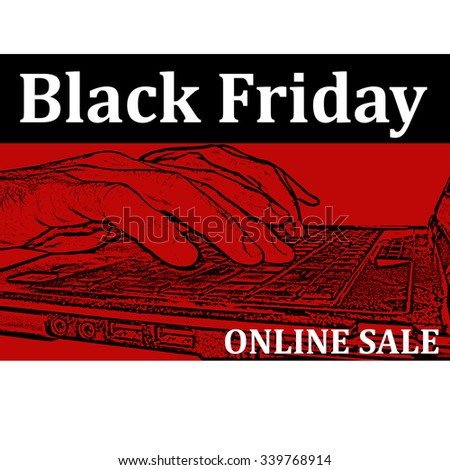 Background with text Black Friday-Online sale,vector illustration - stock vector