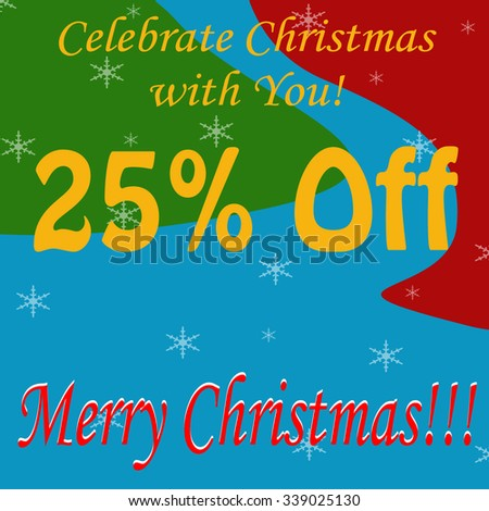 Background with text Merry Christmas-25% Off,vector illustration - stock vector