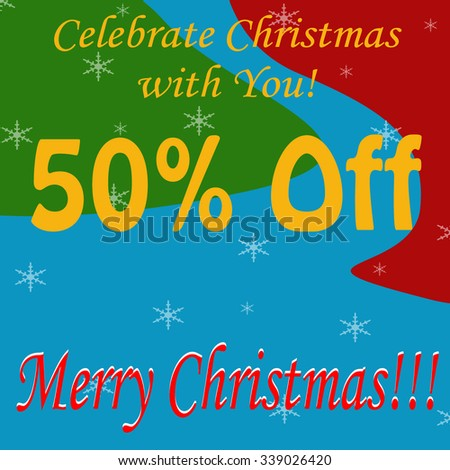 Background with text Merry Christmas-50% Off,vector illustration - stock vector