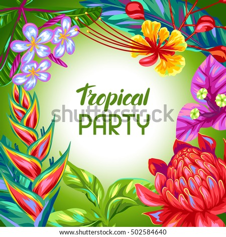 Background with Thailand flowers. Tropical multicolor plants, leaves and buds.