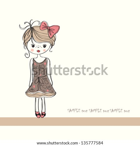 background with the image of a little girl - stock vector