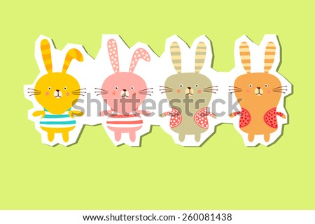 background with the image of funny bunnies - stock vector