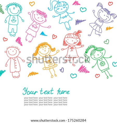 background with the image of funny kids  - stock vector