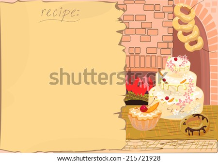 Background with the recipe and baking - stock vector
