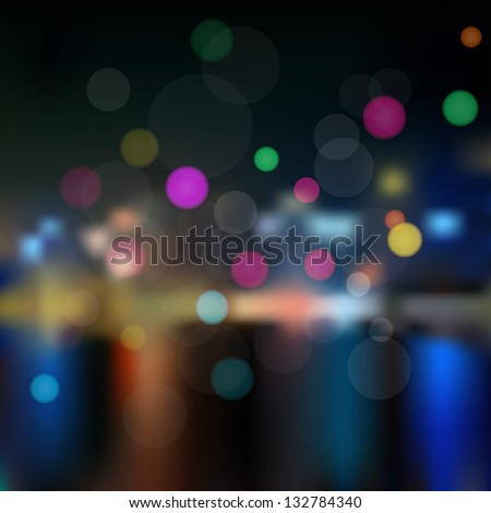 Background with the view of the night city out of focus - stock vector