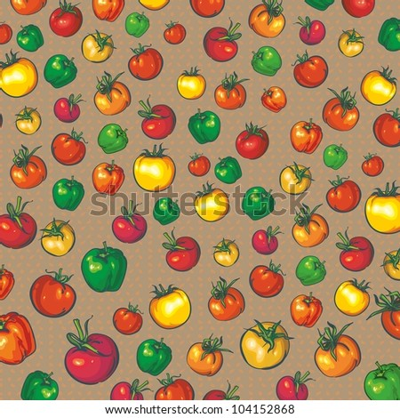 background with tomatoes and peppers. yellow green red - stock vector