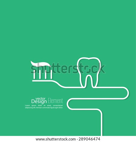 Background with tooth, toothbrush and toothpaste outline.  Symbol for dental clinic. green. Logo, emblem dentist. teeth Whitening - stock vector