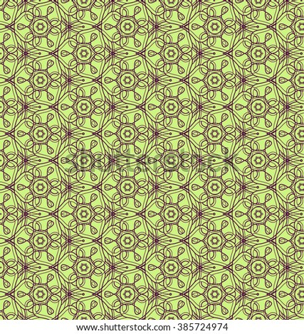 Background with traditional Arabic floral geometric pattern. Vector illustration in green and violet colors. - stock vector