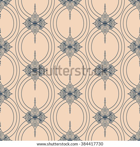Background with traditional Arabic seamless floral geometric pattern. Vector illustration in beige and blue colors. - stock vector