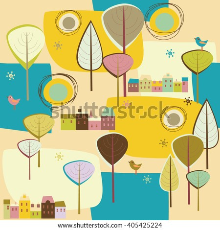 background with trees, houses and birds - stock vector