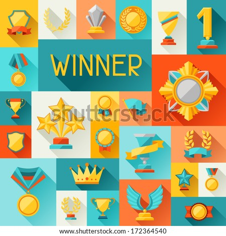 Background with trophy and awards in flat design style. - stock vector
