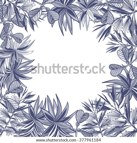 background with tropical leaves  - stock vector
