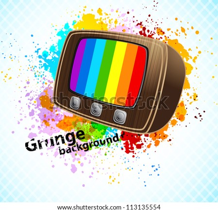 Background with tv - stock vector