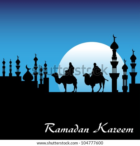 Background with two men riding camels near a city with minarets. Ramadan Kareem postcard concept - stock vector