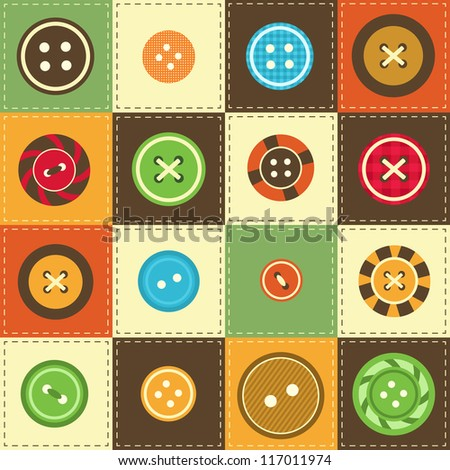 background with various sewing buttons - stock vector