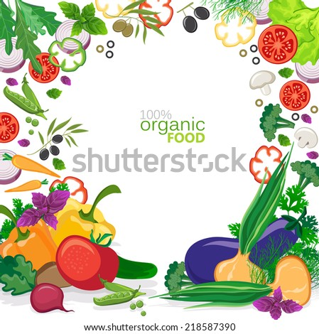 background with vegetables and cutting vegetables - stock vector
